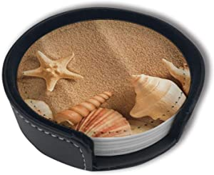 Gorgeous Sandy Beach Leather Coasters for Drinks Set of 6 Holder-Protect Your Furniture