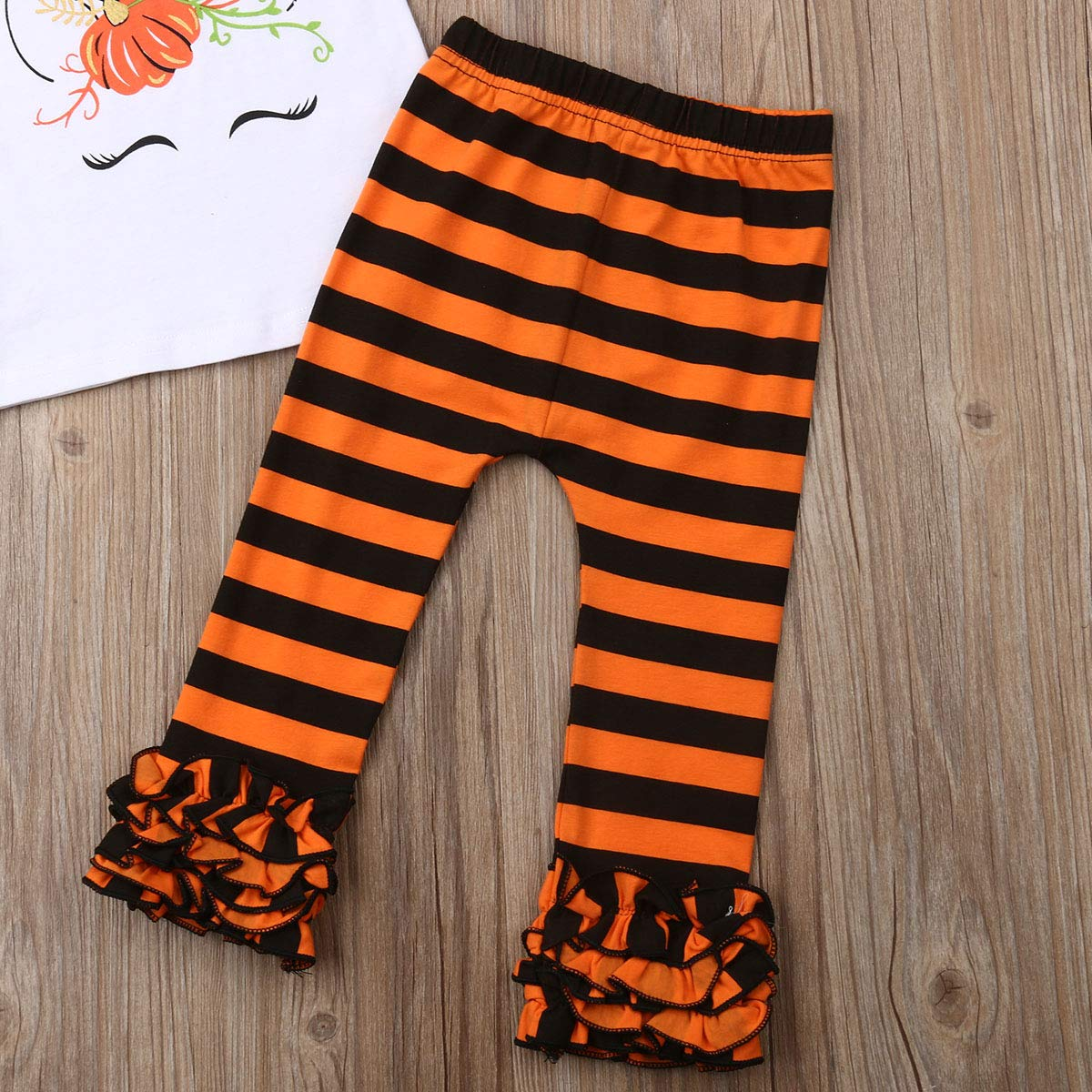 2Pcs Toddler Kids Girls Halloween Outfits Unicorn Ruffled Long Sleeve Tops Striped Pumpkin Legging Pants Clothes Set