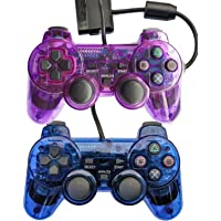 Saloke 2 Packs Wired Gaming Controllers for Ps2 Double Shock (Clear Purple and Clear Blue)