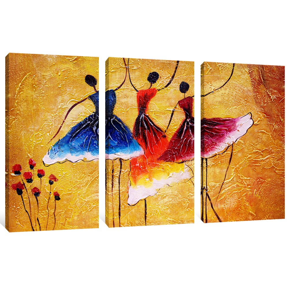 Canvas Prints 3 Panels Beautiful Ballet Dance Abstract Spain Dance Picture Wall Art Stretched by Framed Ready to Hang for Living Room Home Decorations