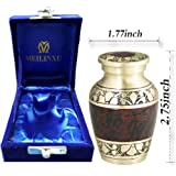 MEILINXU Mini Keepsake Funeral Urn by Small Cremation Urn for Human Ashes Adult - Brass Hand Engraved - Fits a Small Amount of Cremated Remains - Burial Urn at Home or Office (Tranquility Brown Baby