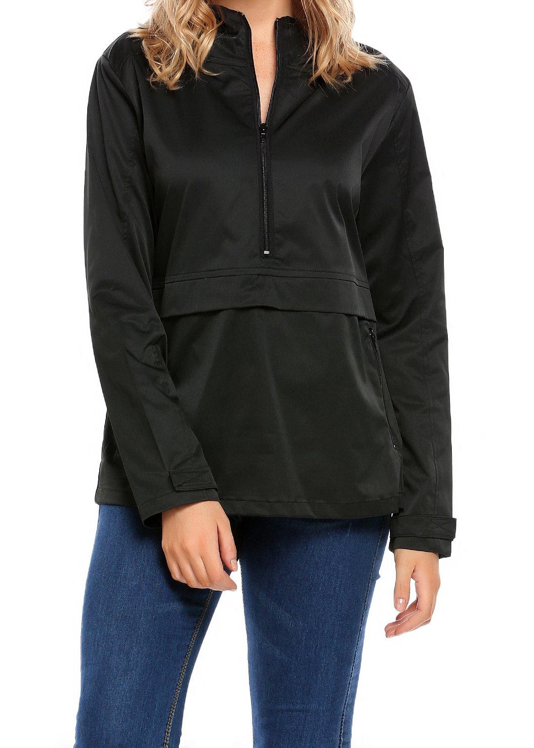 SummerRio Women Front-Zip Hooded Waterproof Plus Size Rain Jacket (Black,X-Large)
