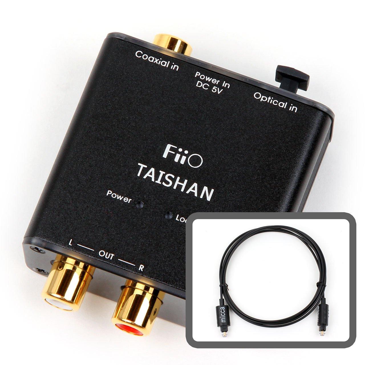 Fiio D3 (d03 K) Conversor de audio digital a analógico con Micca 6 ft - Cable óptico TOSLINK y coaxial óptico de 192 kHz/24 bits DAC: Amazon.es: Electrónica