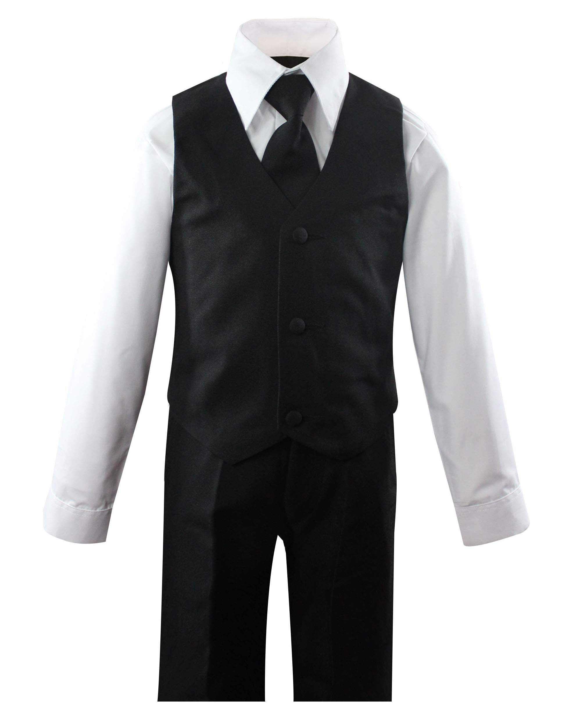 Luca Gabriel Toddler Boys' 5 Piece Classic Fit No Tail Formal Black Dress Suit Set with Tie and Vest - Size 4T by Luca Gabriel (Image #2)