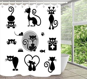 Cortina de ducha de gato negro Varias formas de gatos Tela de poliéster estampada Cortinas de