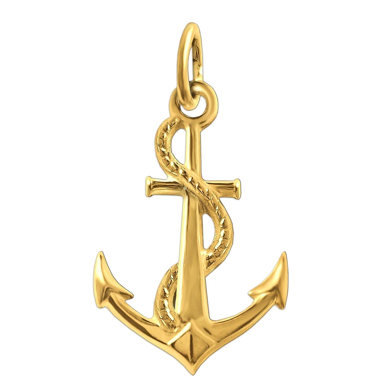 CLEVER SCHMUCK Goldener Anhä nger Anker mit Seil 18 x 14 mm beidseitig plastisch und glä nzend 333 GOLD 8 KARAT im Etui ahg222