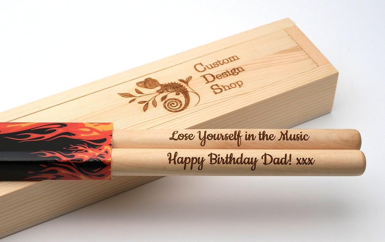 Personalizado baquetas 5 A, madera de arce, punta de nailon, caja de regalo CustomDesign.Shop