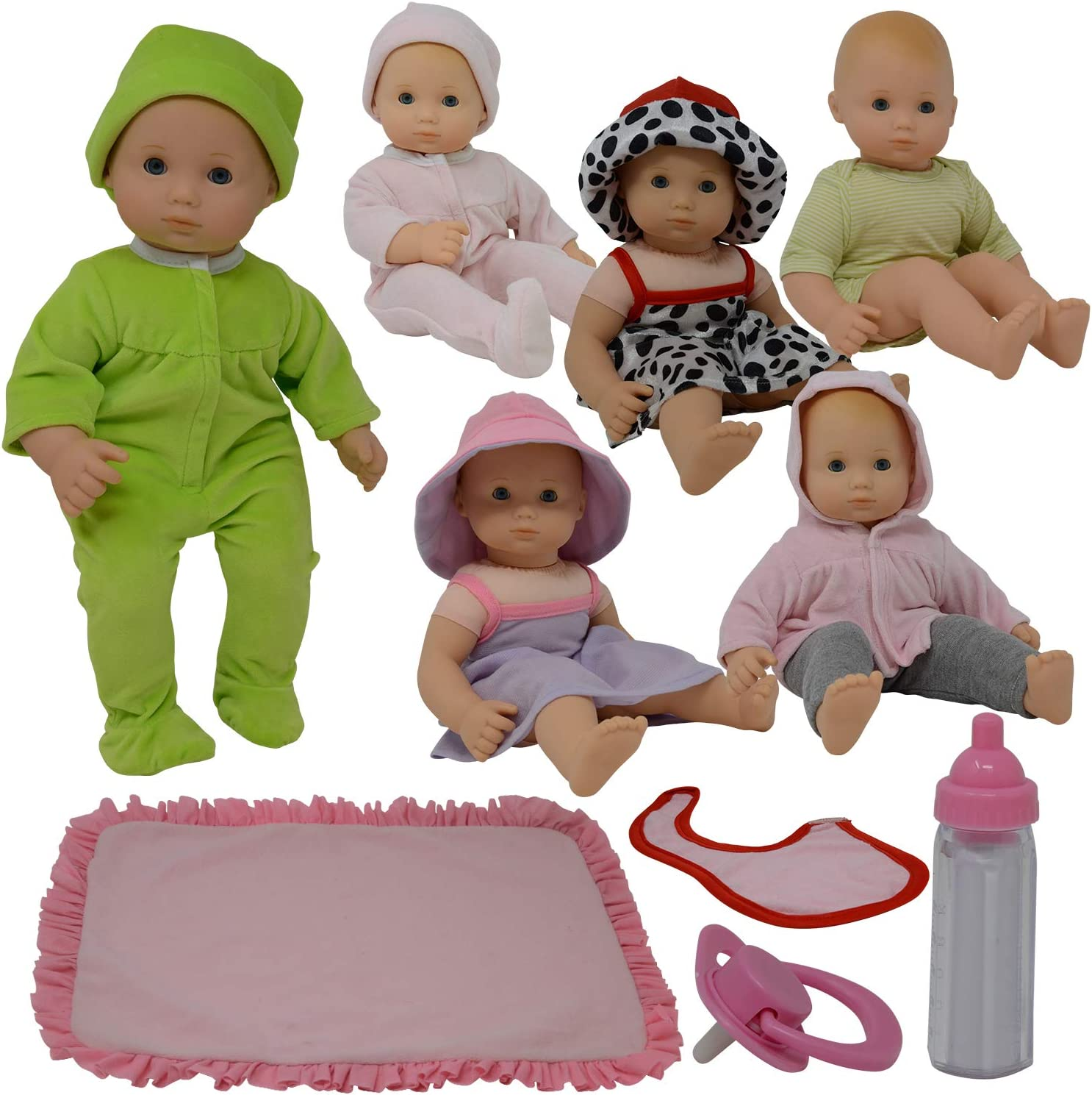Baby Doll Clothes New Born Baby Doll Outfits for 14 15 and 16 inch Dolls Includes Doll Accessories Bottle Blanket and Sets of Clothing Pacifier