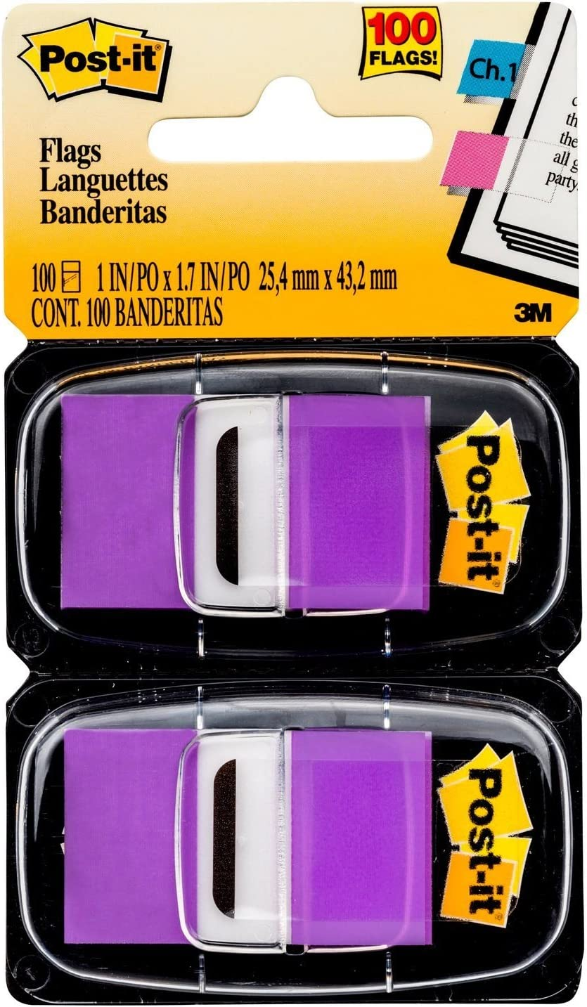 Post-it Standard Page Flags in Dispenser1in Wide, Purple 100 Flags, 680-PU2