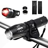 Bike Lights, Degbit Super Bright Bike light set, Mountain Bike Light, 3 Light Modes, Cycle Lights LED bike light, 900lm, Water Resistant, Easy to Mount Headlight front bike light with Back Tail lights (Black)