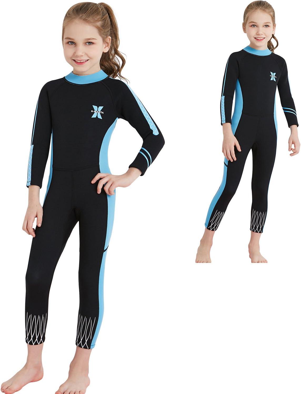 2.5mm Girls Children Kids Swimwear Long-Sleeved Diving Full Wetsuit Keep Warm