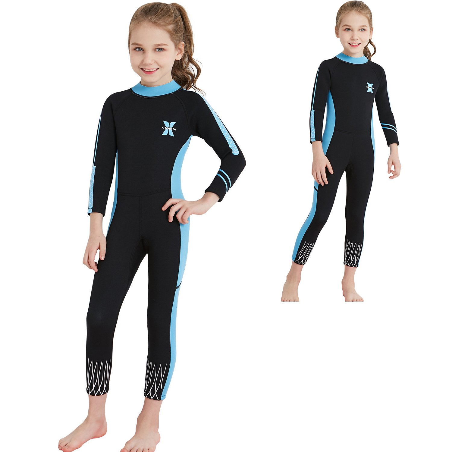 d2636d01c Amazon.com: Dyung Tec Kids Wetsuits 2.5MM Neoprene for Girls Keep Warm One  Piece Long Sleeves UV Protection Children Swimwear: Sports & Outdoors