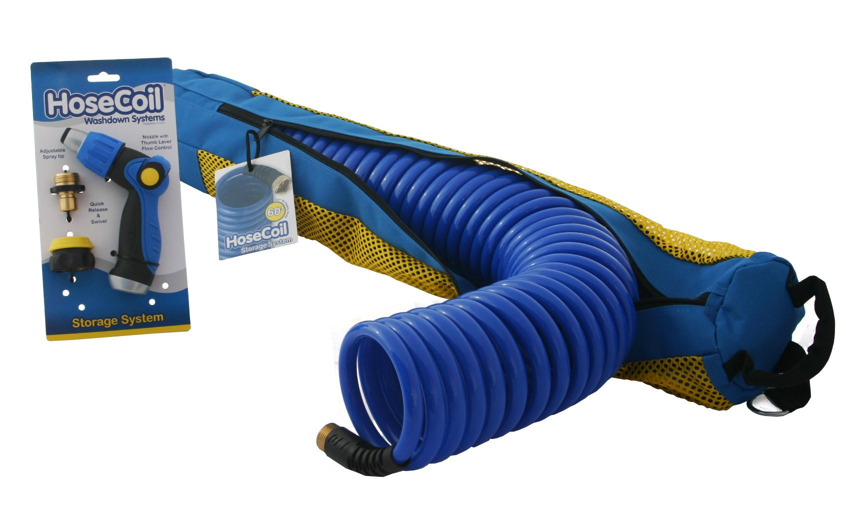 HoseCoil 60' High Performance RV, Boat and Garden Hose with Storage System and Quick Release WN810U Hose Nozzle