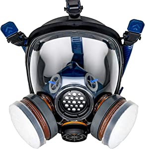 ProTec PT-100 Full Face Gas Mask & Organic Vapor Respirator- ASTM Tested - 1 Year Full Manufacturer Warranty - Eye Protection by Parcil Distribution