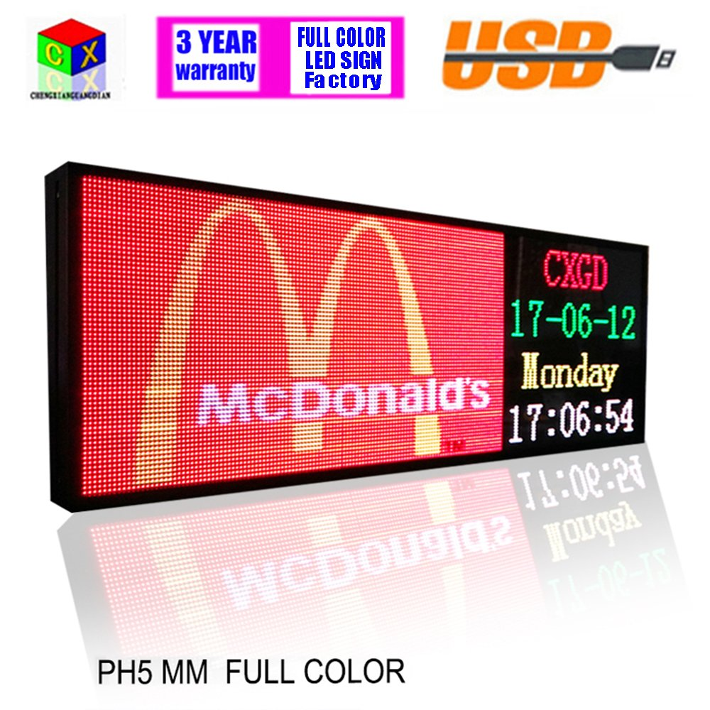 RGB Full color 39x14inch P5 Indoor LED Message Sign Moving Scrolling led Display Board for shop windows by CXGuangDian