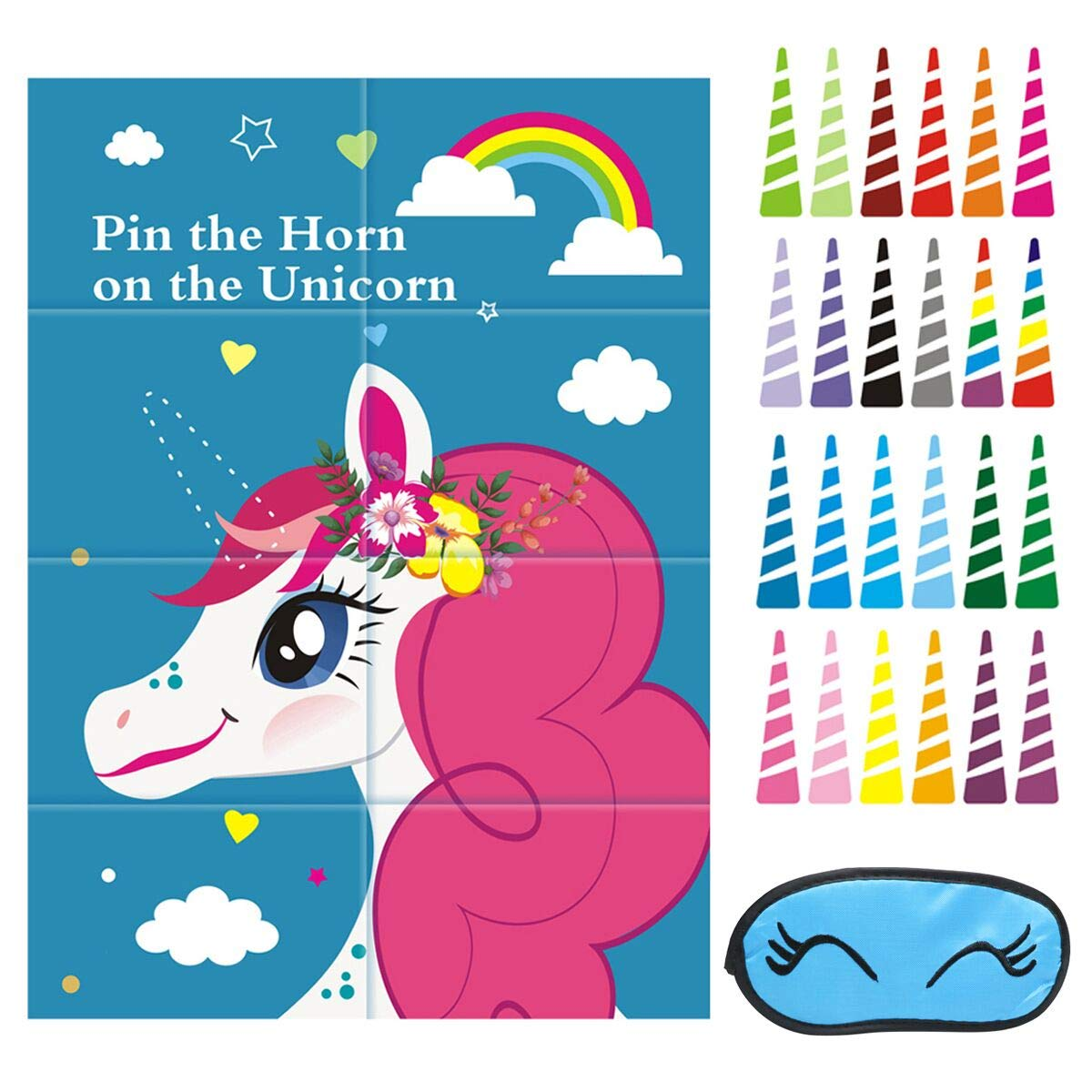 Exqline Pin the Horn on the Unicorn Game Birthday Party Favor Games Unicorn Party Supplies Unicorn Gifts for Girls Boys Game Include a Large Poster 24 Reusable Sticker Horns and 1 PCS Eye Mask.