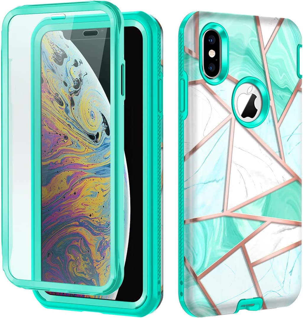 Hekodonk Compatible iPhone Xs Max Case Built in Screen Protector Heavy Duty High Impact Hard PC TPU Bumper Full Body Protective Shockproof Anti-Scratch Cover for Apple iPhone 10s Max 6.5
