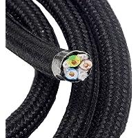 Cable Textil Negro Longitud 3Metros Cable algodón recubierto