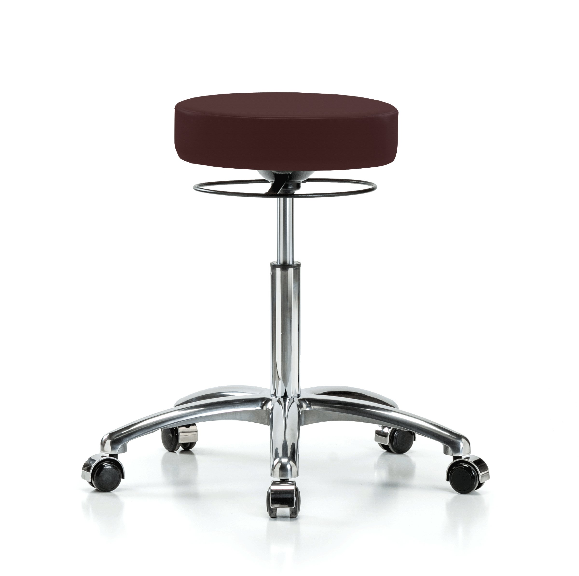 Perch Chrome Stella Rolling Adjustable Stool Medical Salon Spa Massage Tattoo Office 21'' - 28.5'' (Stationary Caps/Burgundy Fabric)