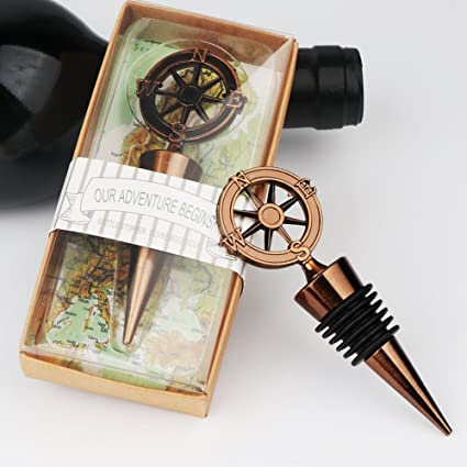 Our Adventure Begins Nautical Themed Compass Bottle Stopper Wedding Favors