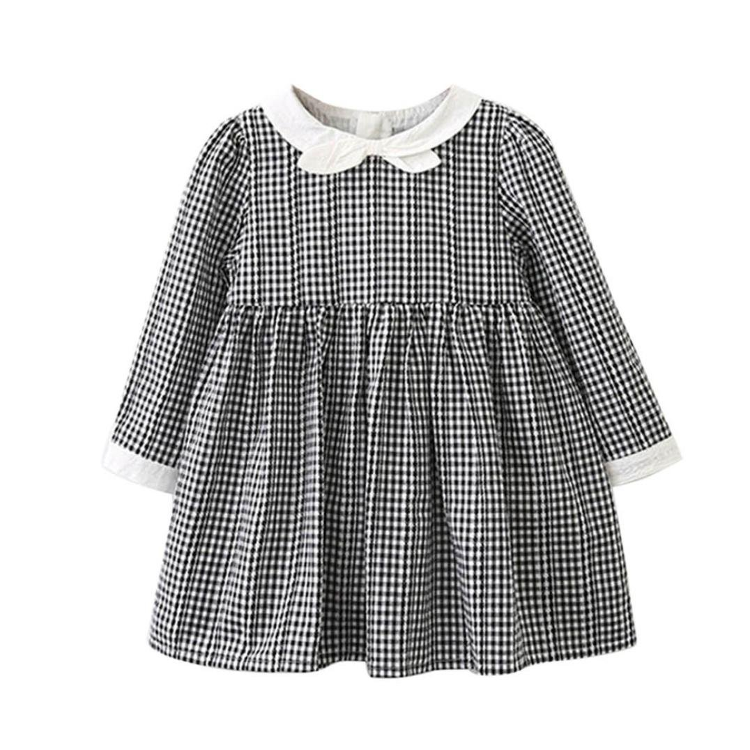 Baby Girls Shirt Dress ChainSee Long Sleeve Plaid Bowknot Princess Party Skirt 5 years old)