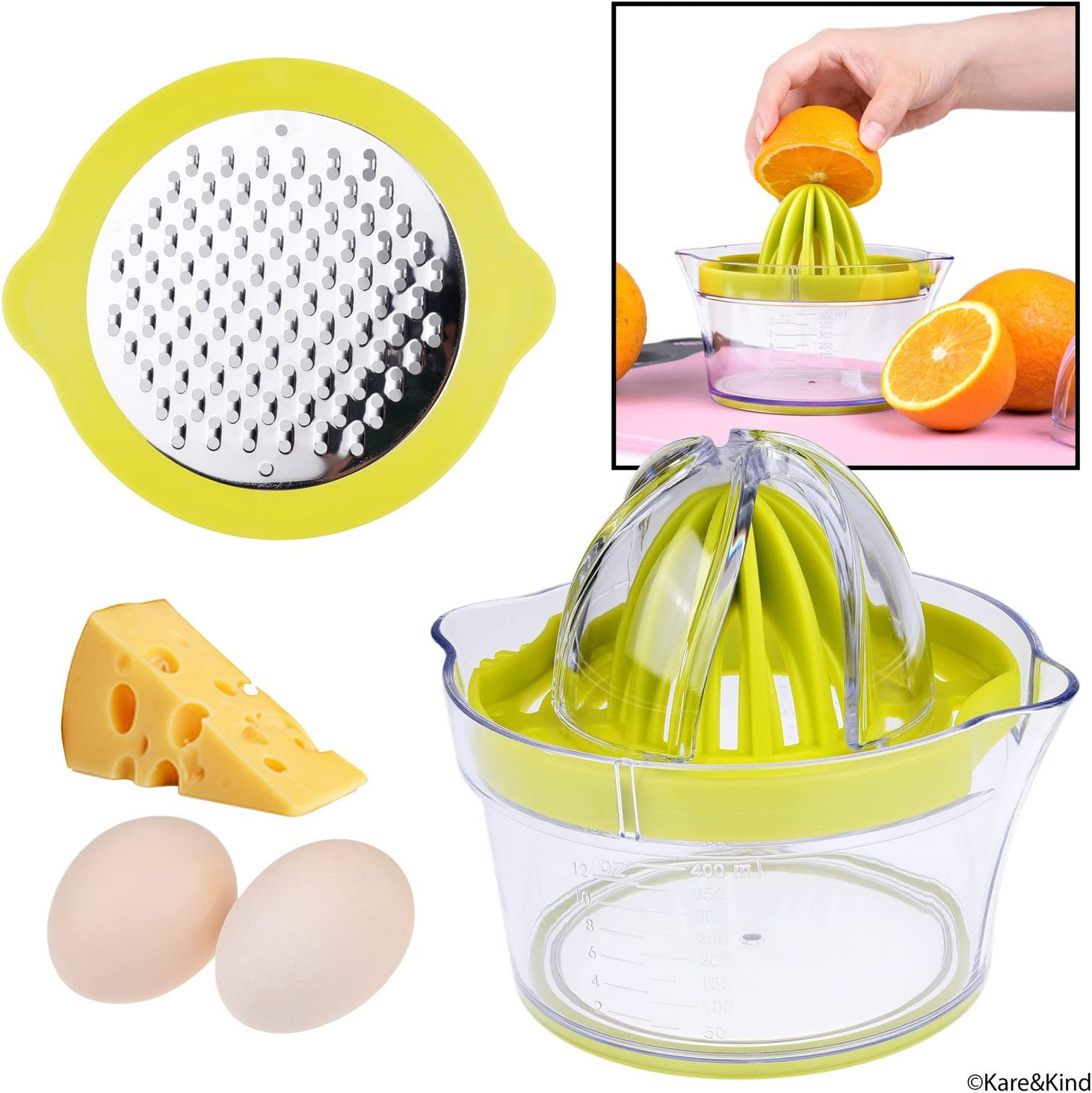 Citrus Juicer with Pulp Filter, Fruit/Vegetable/Chocolate Grater, Measuring Bowl, Egg Yolk Separator - Space Saving Design - Non Slip Silicone Bottom - Dishwasher Safe - No Electricity, No Noise