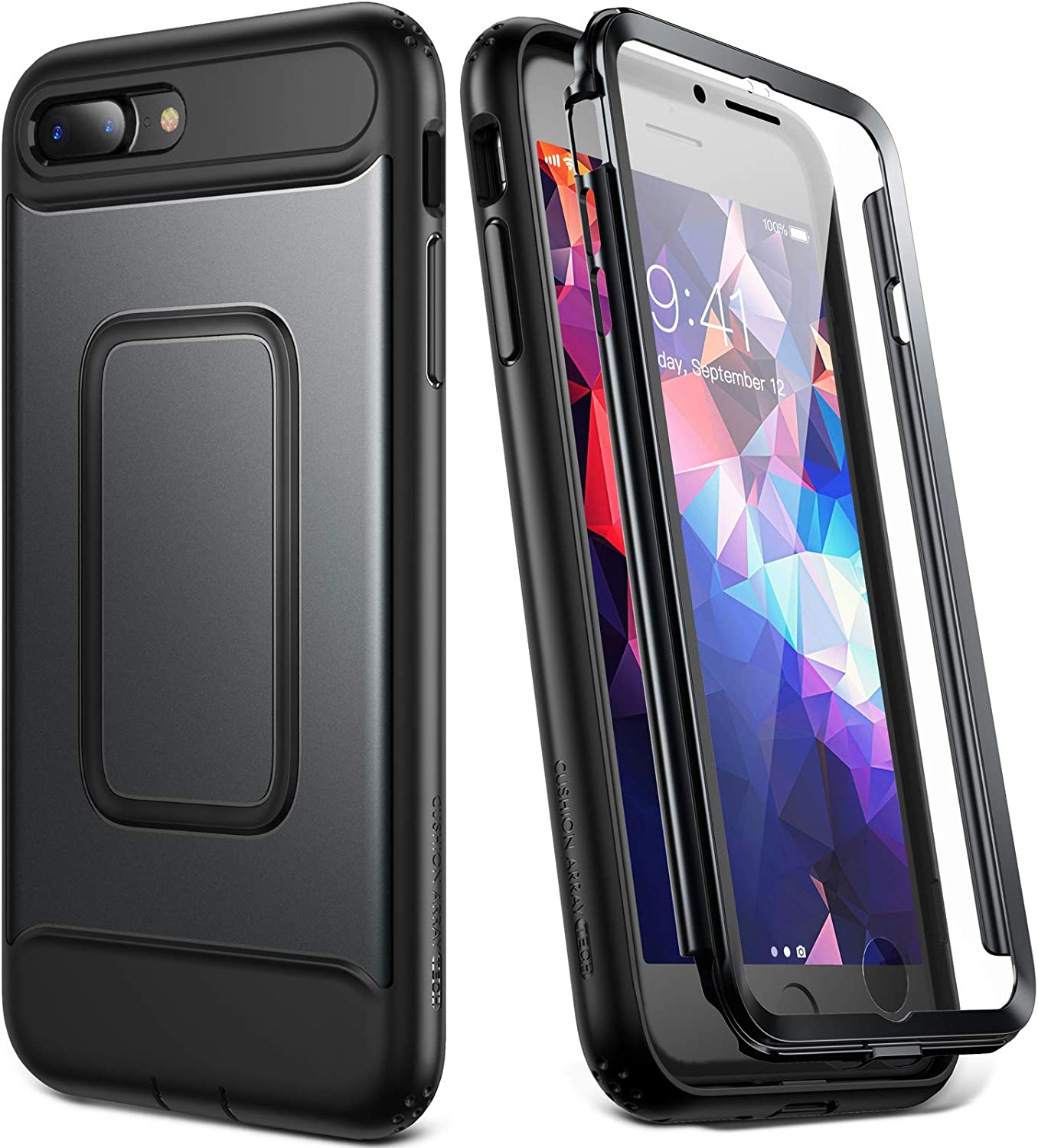 YOUMAKER iPhone 8 Plus Case & iPhone 7 Plus Case, Full Body Rugged with Built-in Screen Protector Heavy Duty Protection Slim Fit Shockproof Cover for iPhone 8 Plus/iPhone 7 Plus (5.5 Inch) - Black
