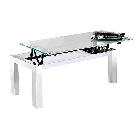 Mesa centro elevable modelo UNIVERSAL patas cromadas y cristal blanco – Sedutahome