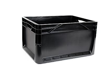 10 x 20 litros Euronorm Eco Industrial Plástico Apilables Euro cajas de almacenamiento contenedores cajas negro
