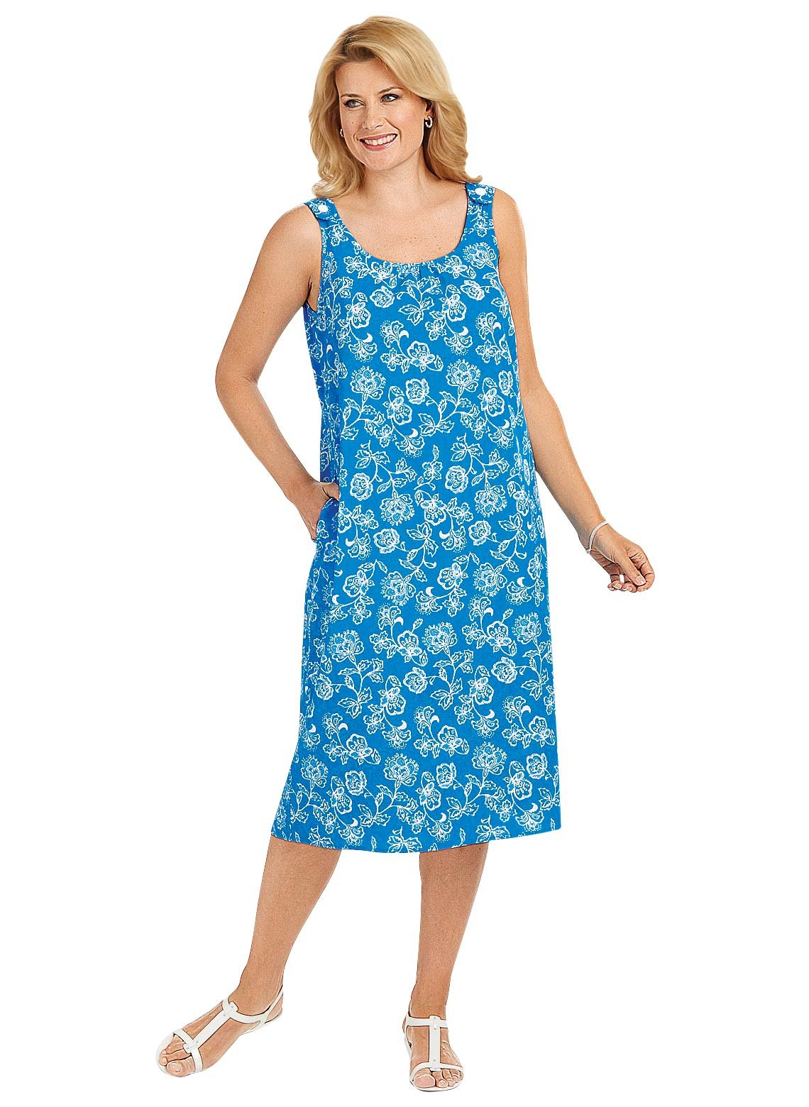 Sleeveless One Button Dress, Blue, Size Extra Large (3X)