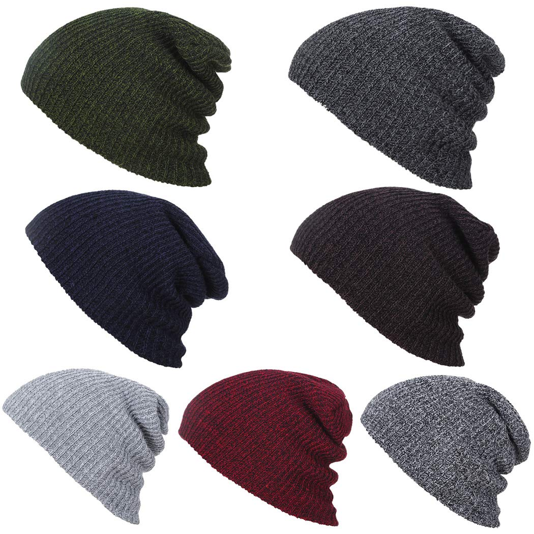 Nessere Outdoor Warm Winter Hats Knit Slouchy Thick Skull Cap Beanie Cap Soft Stretch Casual Knitted Ski Hat