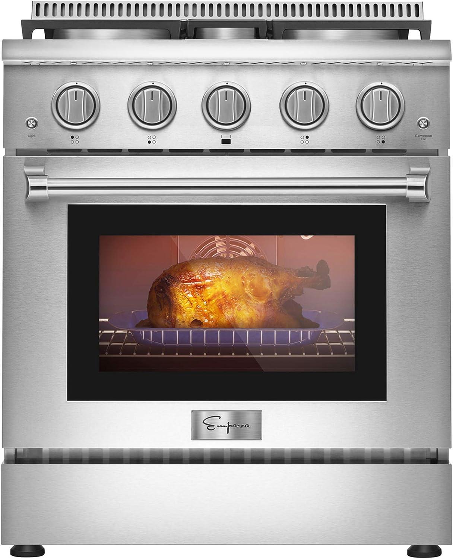 Empava 30 in. 4.2 cu. ft. Pro-Style Slide-in Single Oven Gas Range