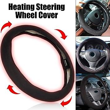 camions Protecteur de couverture de volant de chauffage /électrique de voiture pour la plupart des voitures fourgonnettes et SUV protection de volant chauffant rapide 12V Poign/ée chauffante en cuir