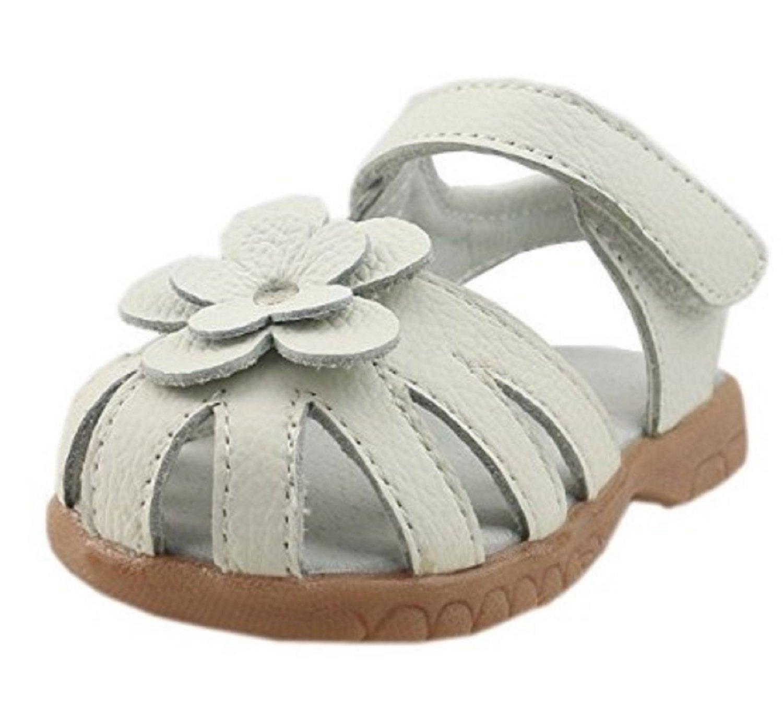 【Dream Studio】Girls Genuine Leather Solid Flower Sandals (5.5 M US Toddler, White)
