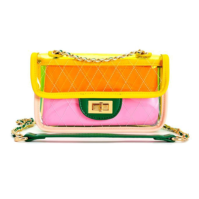Bright Color Womens Transparent Handbag Summer Jelly Cross Body Bag PVC Clutch Purse Shoulderbag Beach Bag (m, yellow)