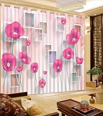 Amazon sproud pink flower curtains girls bedroom curtains 3d sproud pink flower curtains girls bedroom curtains 3d photo curtains for the living room 3d window mightylinksfo