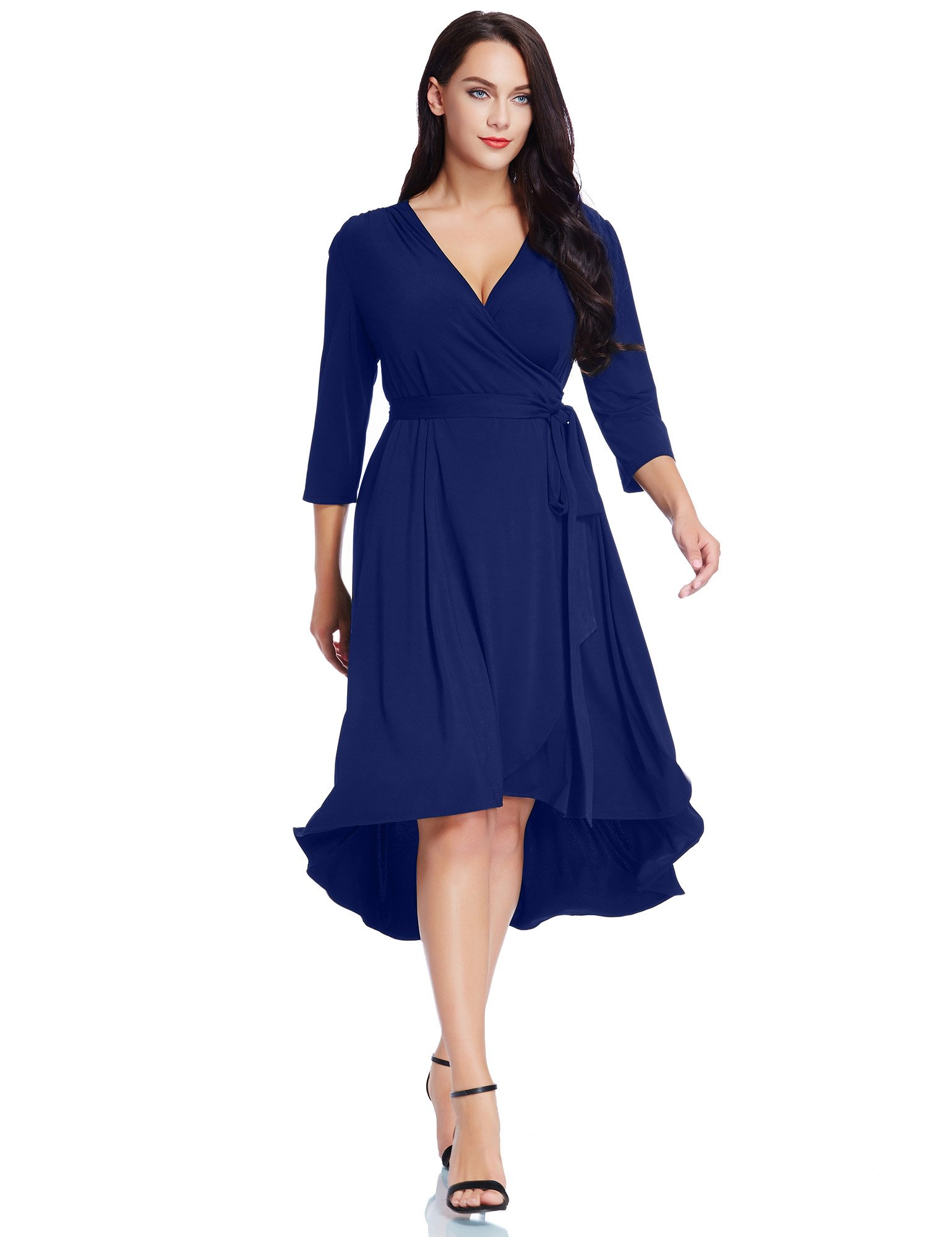 GRAPENT Women's Plus Size Solid V Neck Knee Length 3/4 Sleeve Hi Lo True Wrap Dress Surplice Flared Skirt Royal Blue Size 1X