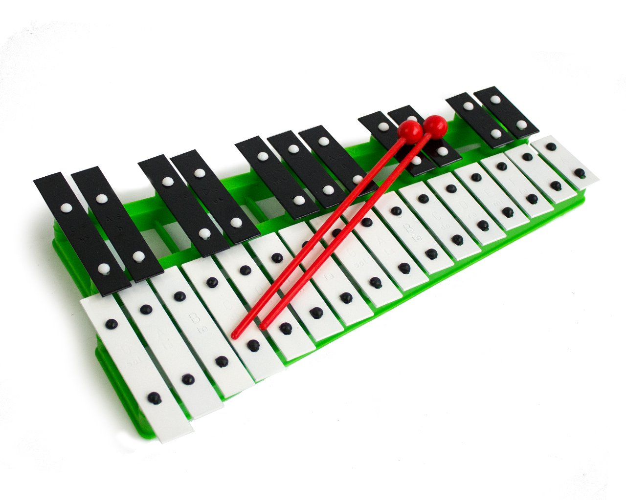 Green 27 Key Chromatic Glockenspiel Xylophone - Notes Engraved into Metal Keys by Pro Kussion