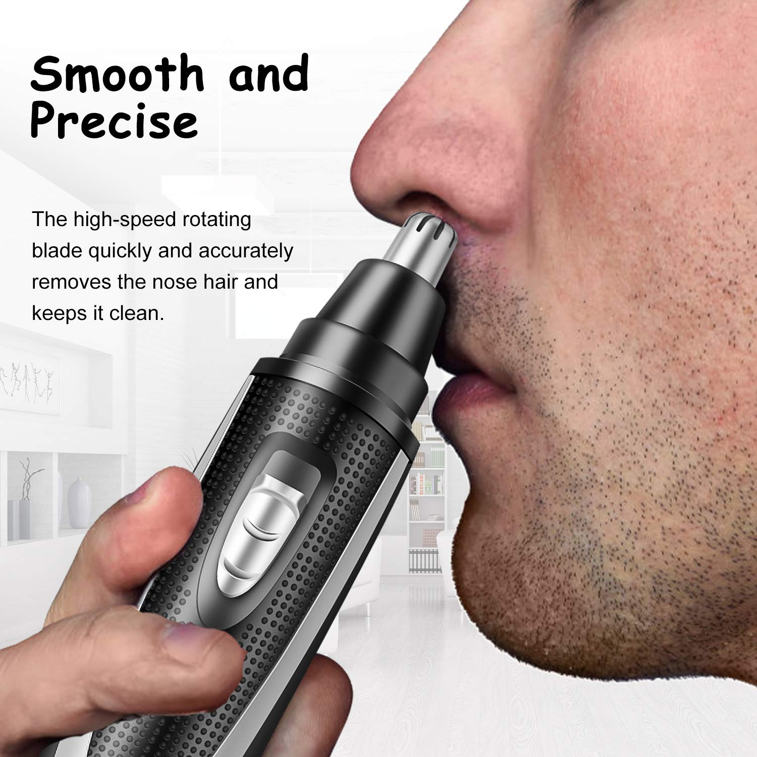 SKADINO Professional Nose Hair Trimmer, Multi-function Electric,Battery Powered, With Vortex Cleaning System HAP001