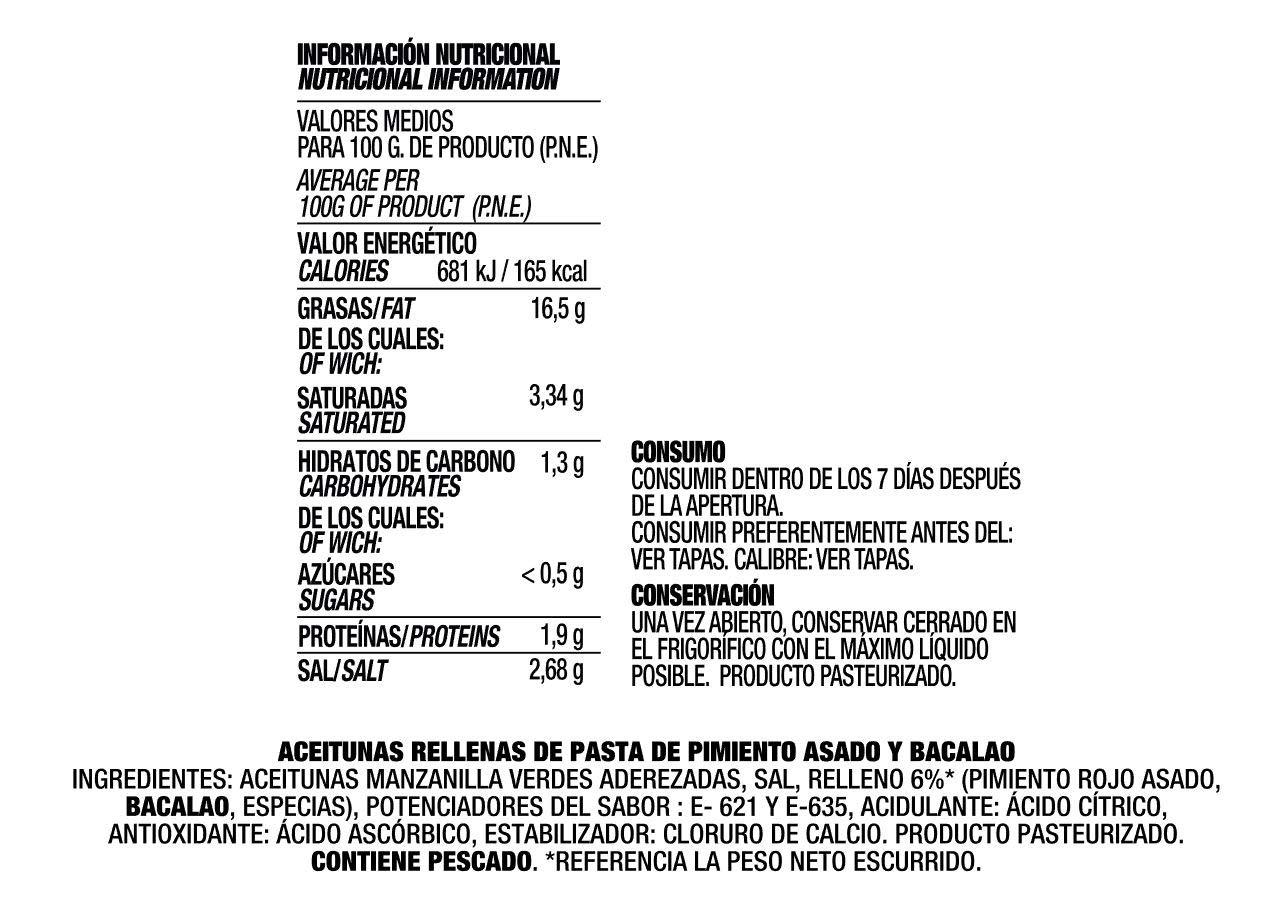 DELUXE PIMIENTO Y BACALAO de LA ESPAÑOLA (3x50g), Aceitunas verdes ...
