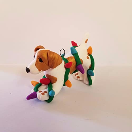 JACK RUSSELL TERRIER CHRISTMAS ORNAMENT tangled in lights Hand Made OOAK - Amazon.com: JACK RUSSELL TERRIER CHRISTMAS ORNAMENT Tangled In