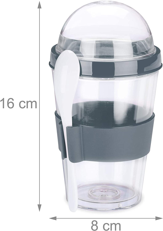 400 ml M/üsli Cup mit L/öffel Relaxdays 2 x M/üslibecher M/üsli to Go Becher Joghurtbecher f/ür unterwegs HxD 16x8 cm rot