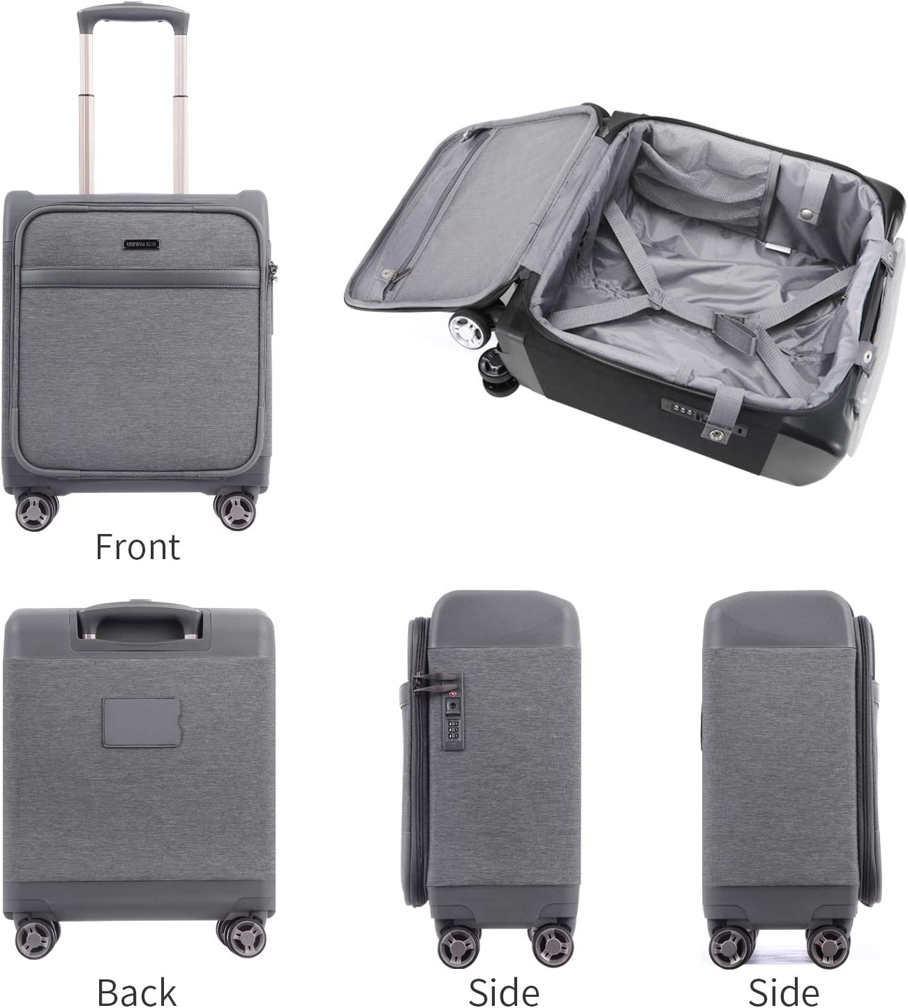 Unitravel Lightweight Carry-on Suitcase Softside Spinner Underseat Luggage with TSA Lock