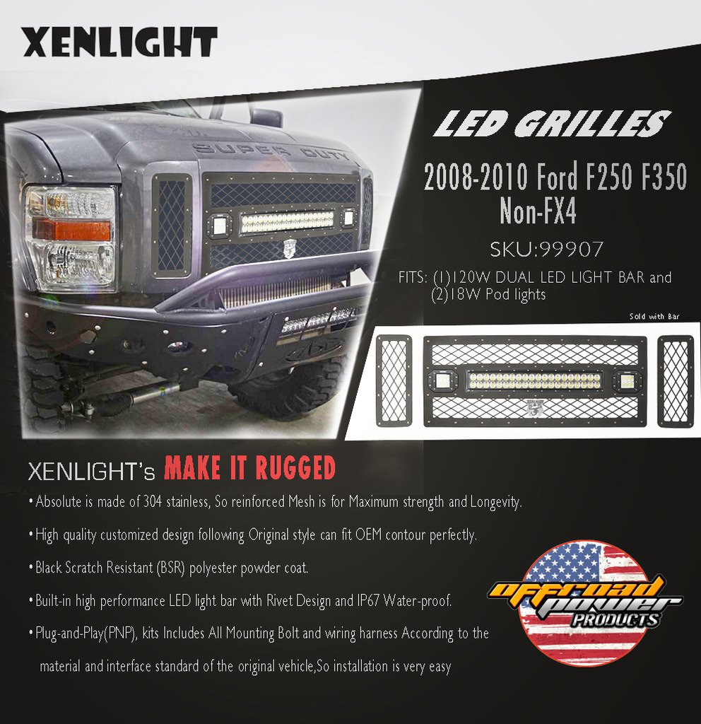 Xenlight Led Mesh Grille Light Kit With 156w 2010 Ford F350 Wiring Harness Bar Pod For 2008 F250 Non Fx4 Automotive