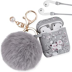Airpod Case AIRSPO Airpods Case Cover for Apple AirPods 2&1 Silicone Protective Skin Cute Airpod Case for Girls with Pom Pom Fur Ball Keychain/Strap/Accessories (Grey Rose+Fur Ball)
