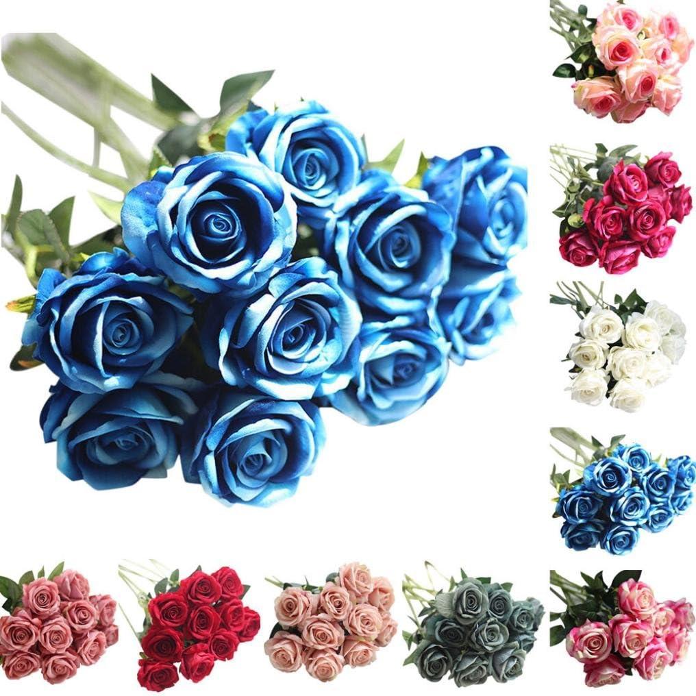 Moonuy Artificielle Faux Roses Flanelle La Mariée Fleur Bouquet De Mariée Fête De Mariage Décor à La Maison Fleurs Fake En Flanelle Wedding Party