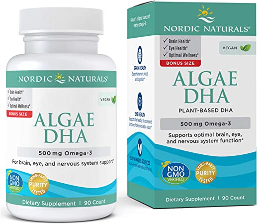 Nordic Naturals Algae DHA - 500 mg Omega-3 DHA - 90 Soft Gels - Certified Vegan Algae Oil - Plant-Based DHA - Brain, Eye & Nervous System Support - Non-GMO - 45 Servings