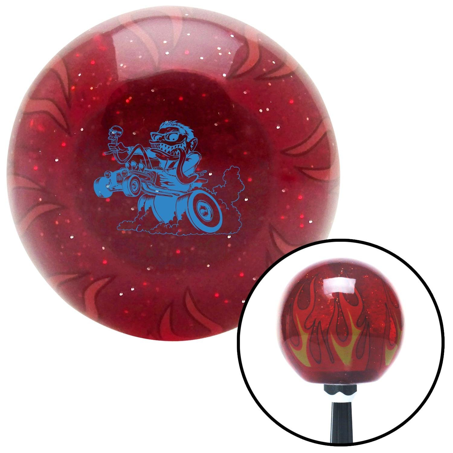 American Shifter 242594 Red Flame Metal Flake Shift Knob with M16 x 1.5 Insert Blue Hot Rodder