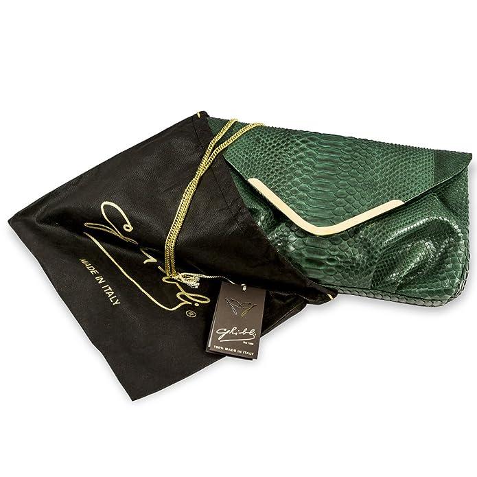 Amazon.com: Ghibli Diseñador italiano verde Python piel ...