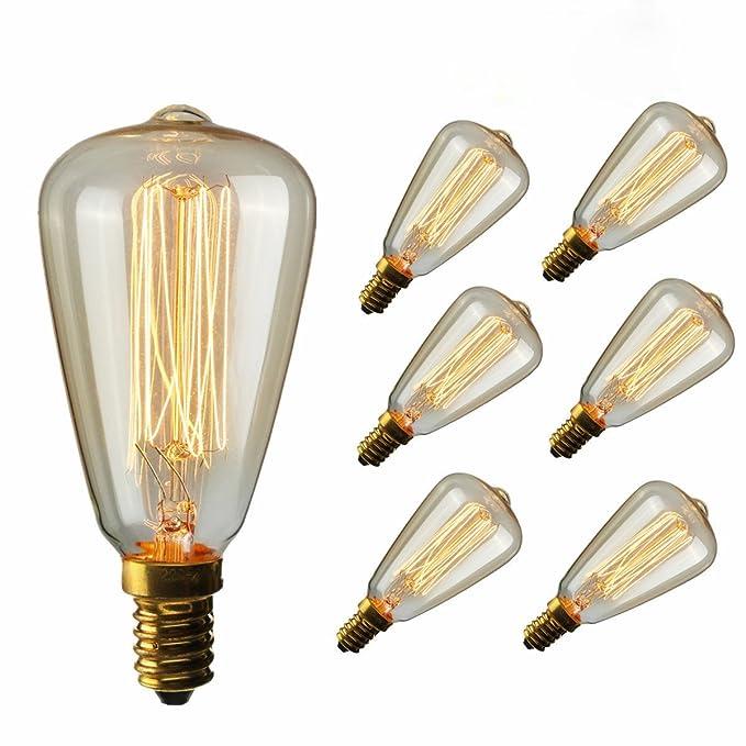 Lit. 6 X E14 Luz ámbar carcasa Edison Retro serie tungsteno ...